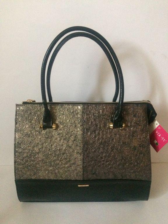 Via55 fekete-arany -bronz rostbőr női táska 2e7987056e